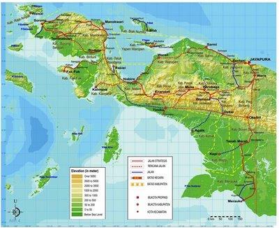 peta pulau papua Jalan Trans Papua Butuh Dana 50 Triliun